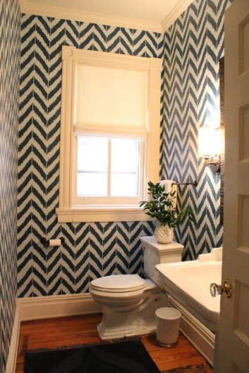 A DIY stenciled bathroom using the Ikat Zig Zag wall stencil. http://www.cuttingedgestencils.com/zigzag-stencil-pattern.html
