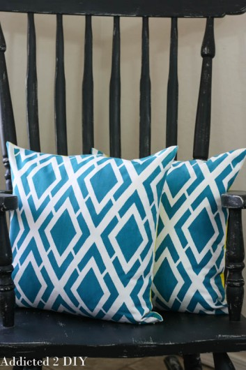 DIY blue stenciled pillow using the Alexa Paint-A-Pillow kit. http://paintapillow.com/index.php/alexa-paint-a-pillow-kit.html