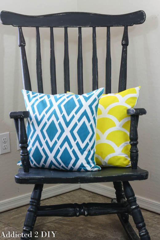 DIY stenciled accent pillows using the Alexa and Mermaid Paint-A-Pillow kits. http://paintapillow.com/index.php/alexa-paint-a-pillow-kit.html