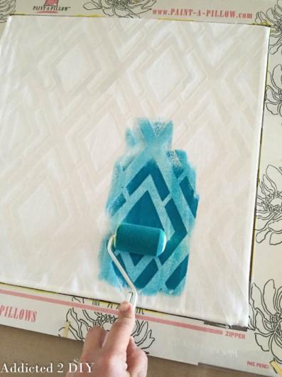 Painting a DIY stenciled pillow using the Alexa Paint-A-Pillow kit. http://paintapillow.com/index.php/alexa-paint-a-pillow-kit.html