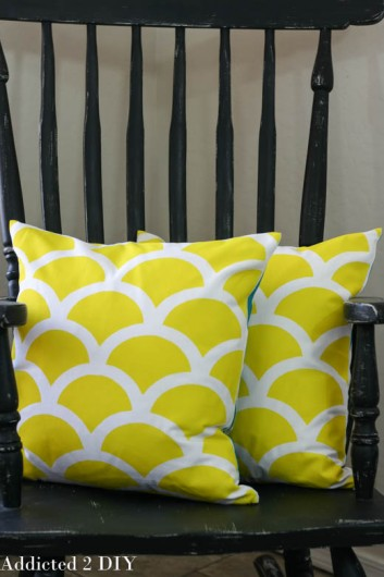 DIY yellow stenciled pillows using the Mermaid Paint-A-Pillow kit. http://paintapillow.com/index.php/mermaid-paint-a-pillow-kit.html
