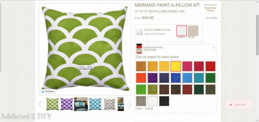 Ordering a Paint-A-Pillow kit to make a DIY acent pillow is easy. http://paintapillow.com/index.php/mermaid-paint-a-pillow-kit.html