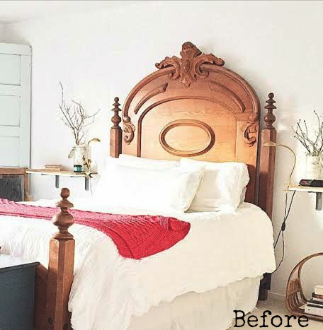 A before shot of a stenciled bedroom makeover.