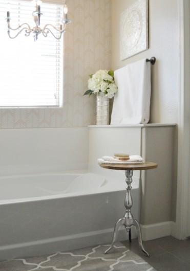 A DIY bathroom makeover using the Drifting Arrows allover stencil. http://www.cuttingedgestencils.com/drifting-arrows-stencil-pattern-diy-decor.html