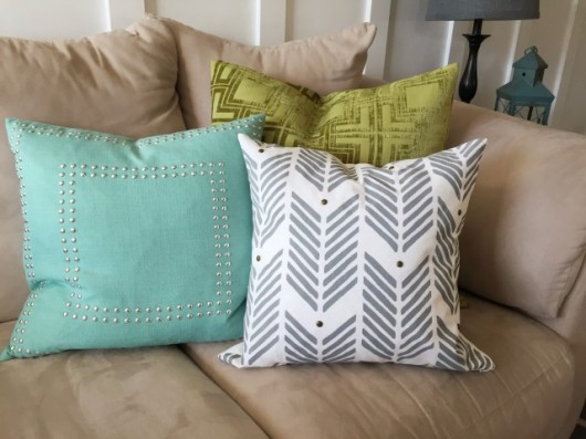 DIY gray stenciled accent pillow using the Drifting Arrows Paint-A-Pillow kit. http://paintapillow.com/index.php/drifting-arrows-paint-a-pillow-kit.html