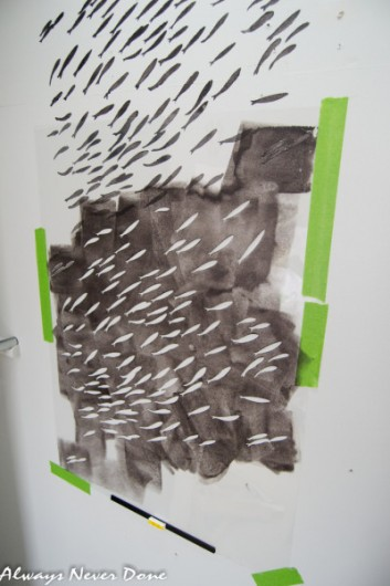 Stenciling the Fish School Allover stencil pattern. http://www.cuttingedgestencils.com/fish-school-stencil-pattern-beach-decor.html