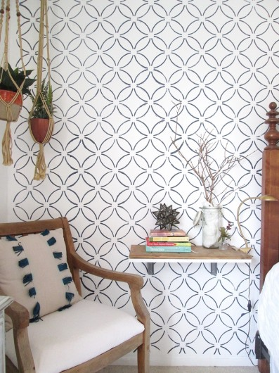 A DIY stenciled accent wall with a wallpaper look using the Fuji Allover Stencil. http://www.cuttingedgestencils.com/stencil-wall-stencils-fuji.html