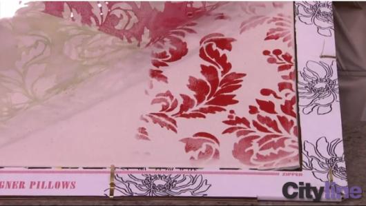 Stenciling a Paint-A-Pillow kit on Cityline. http://paintapillow.com/index.php/verde-damask-paint-a-pillow-kit.html