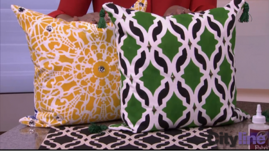 The Tamara Trellis and Stephanie's Lace stenciled accent pillows on Cityline CityTV. http://paintapillow.com/index.php/tamara-trellis-paint-a-pillow-kit.html