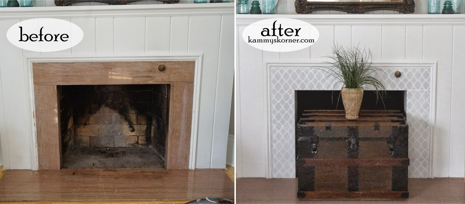 Before And After Of A Diy Painted Granite Fireplace Makeover Using The Rabat Craft Stencil