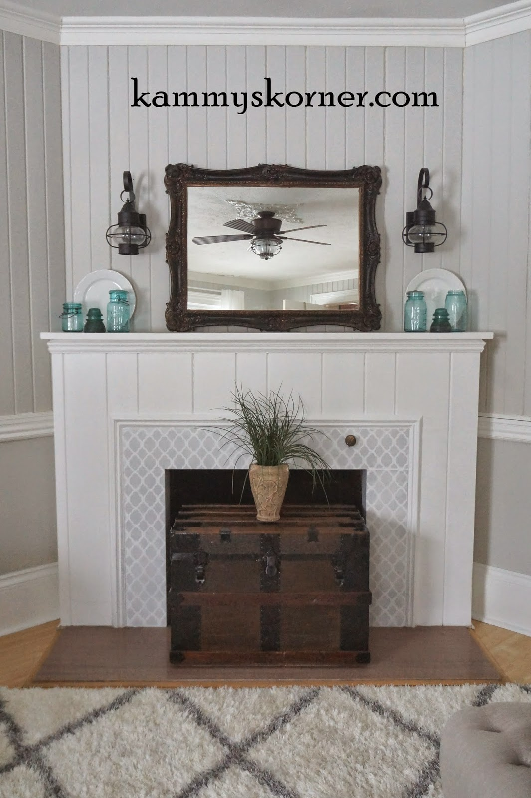A Diy Painted Granite Fireplace Makeover Using The Rabat Craft Stencil