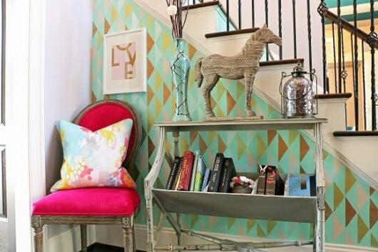 A DIY stenciled entryway using the Symmetry Allover stencil pattern on an entryway wall. http://www.cuttingedgestencils.com/symmetry-geometric-stencil-pattern.html