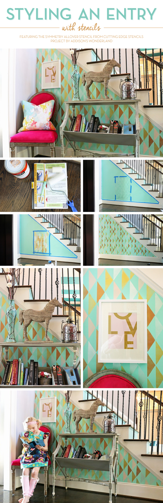Cutting Edge Stencils share a DIY stenciled entryway using the Symmetry Allover stencil pattern on an entryway wall. http://www.cuttingedgestencils.com/symmetry-geometric-stencil-pattern.html