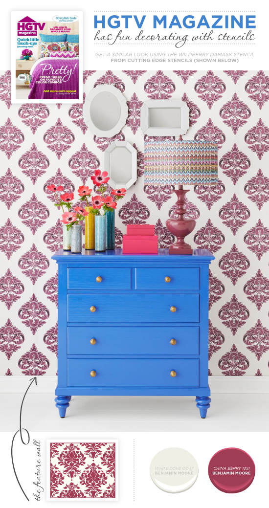 A damask accent wall similar to the Wild Berry Damask Stencil. http://www.cuttingedgestencils.com/damask-stencil-berry.html
