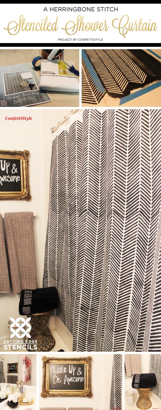 Cutting Edge Stencils shares a DIY stenciled shower curtain using Herringbone Stitch Allover Stencil. http://www.cuttingedgestencils.com/herringbone-stitch-allover-pattern-wall-stencil.html