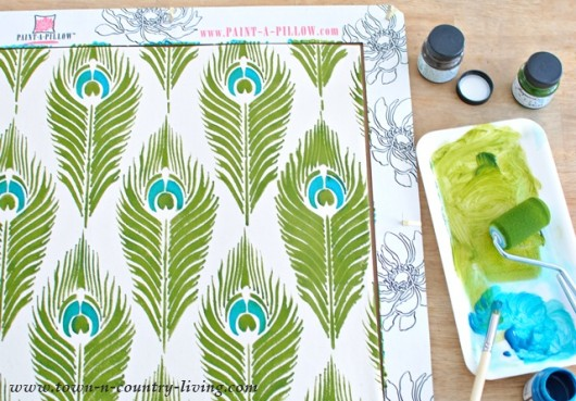 Stenciling a DIY accent pillow using the Peacock Feathers stencil from Paint-A-Pillow. http://paintapillow.com/index.php/peacock-feathers-paint-a-pillow-kit.html