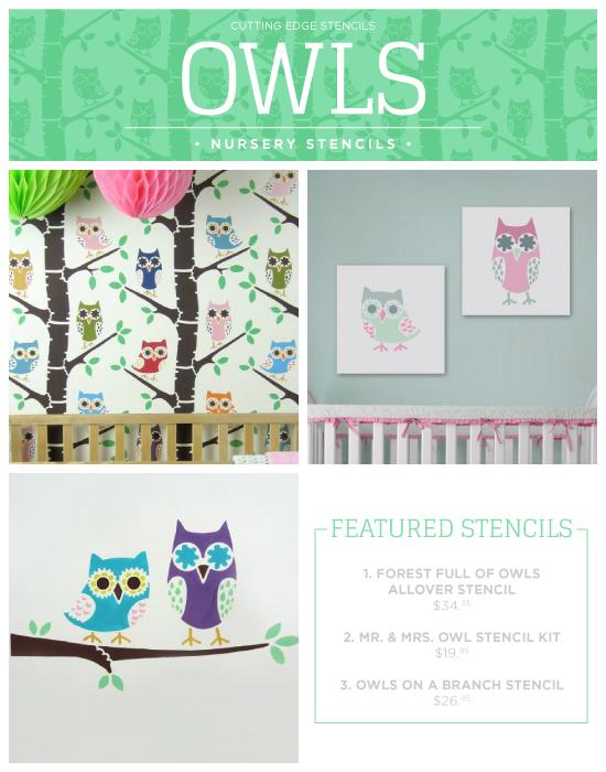 Cutting Edge Stencils shares new nursery wall stencil patterns including these Owl themed designs. http://www.cuttingedgestencils.com/owl-forest-nursery-wall-pattern-stencil.html