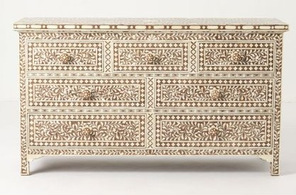 Recreate this Anthropologie bone inlay dresser using the Indian Inlay Stencil kit. http://www.cuttingedgestencils.com/indian-inlay-stencil-furniture.html