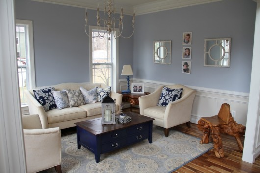 A Blue Gray Living Room Before Its Stenciled Makeover