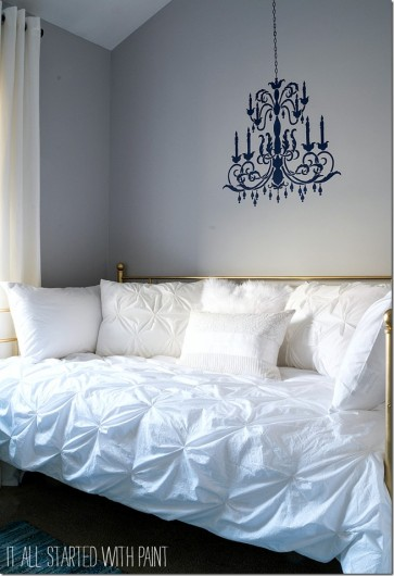 A DIY stenciled Chandelier wall pattern in a bedroom. http://www.cuttingedgestencils.com/chandelier-stencil-decal.html