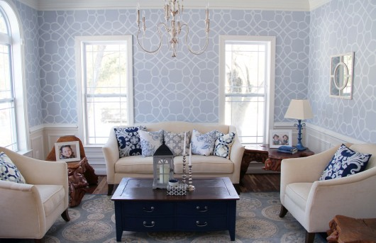 living room wall stencils a coco trellis stenciled living room 15796