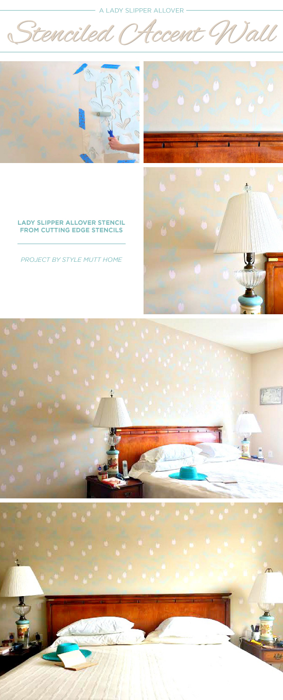 Cutting Edge Stencils shares a DIY stenciled accent wall in a bedroom using the Lady Slipper Allover pattern. http://www.cuttingedgestencils.com/orchid-floral-stencil-pattern.html