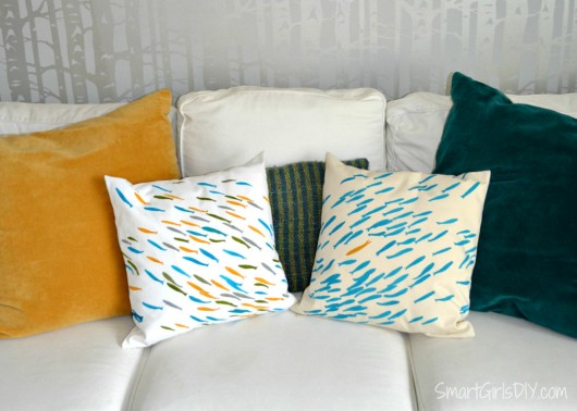 A DIY stenciled accent pillow using the Fish School Paint-A-Pillow stencil kit. http://paintapillow.com/index.php/fish-school-paint-a-pillow-kit.html