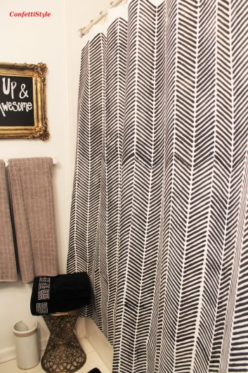 A DIY stenciled shower curtain using Herringbone Stitch Allover Stencil. http://www.cuttingedgestencils.com/herringbone-stitch-allover-pattern-wall-stencil.html