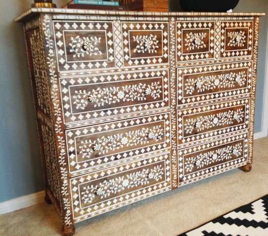 A Diy Anthropogolie Inspired Bone Inlay Stenciled Dresser Using The Indian Stencil Kit Http