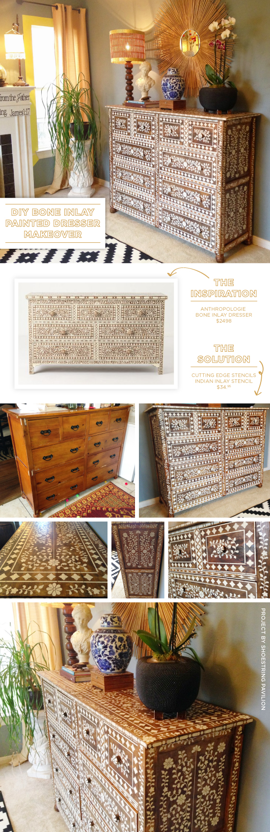 Cutting Edge Stencils shares a DIY Anthropogolie inspired bone inlay stenciled dresser using the Indian Inlay Stencil Kit. http://www.cuttingedgestencils.com/indian-inlay-stencil-furniture.html