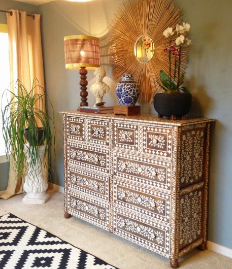 A DIY Anthropogolie inspired bone inlay stenciled dresser using the Indian Inlay Stencil Kit. http://www.cuttingedgestencils.com/indian-inlay-stencil-furniture.html