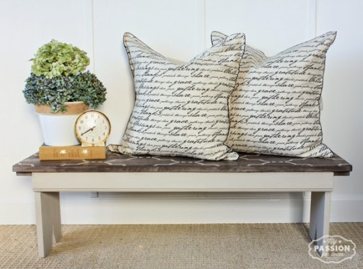 A DIY stenciled bench makeover using the Marrakech Trellis Stencil. http://www.cuttingedgestencils.com/moroccan-stencil-marrakech.html