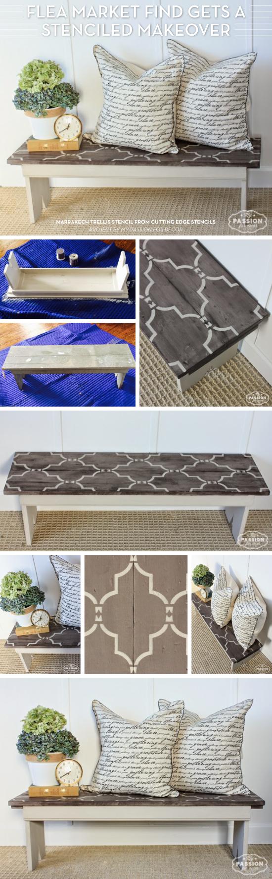 Cutting Edge Stencils shares a DIY stenciled bench makeover using the Marrakech Trellis Stencil. http://www.cuttingedgestencils.com/moroccan-stencil-marrakech.html