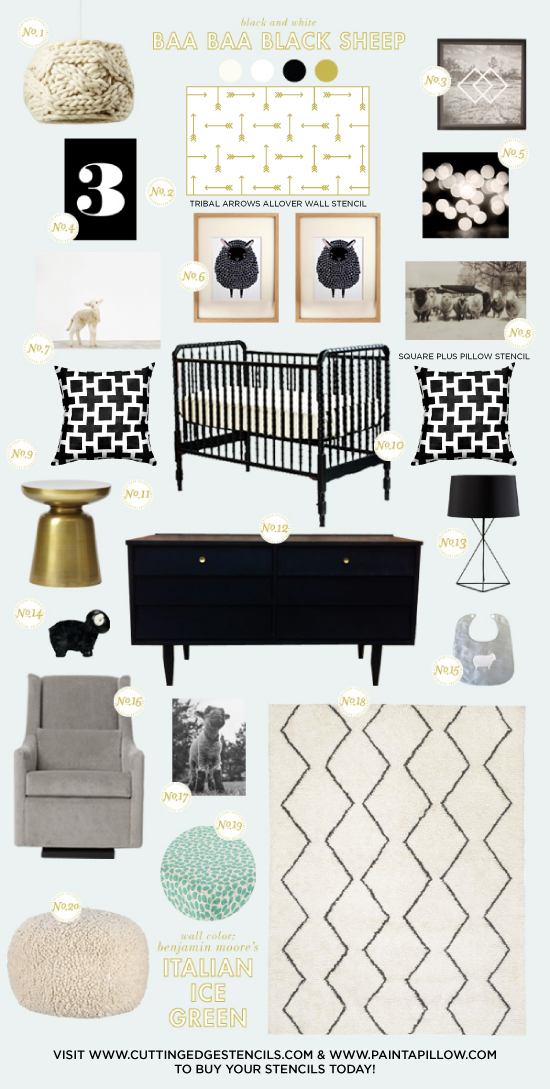 Cutting Edge Stencils shares a nursery inspiration board featuring the Tribal Arrows wall stencil. http://www.cuttingedgestencils.com/tribal-arrow-pattern-stencils-wall-decor.html