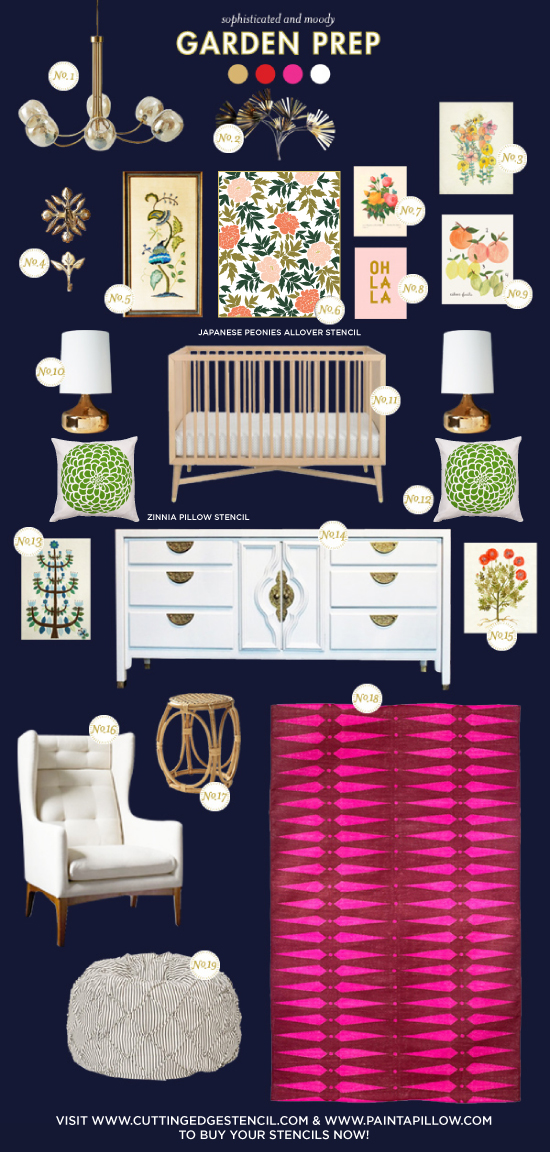 Cutting Edge Stencils shares a nursery inspiration board featuring the Japanese Peonies floral wall stencil. http://www.cuttingedgestencils.com/japanese-peonies-floral-stencil-pattern.html