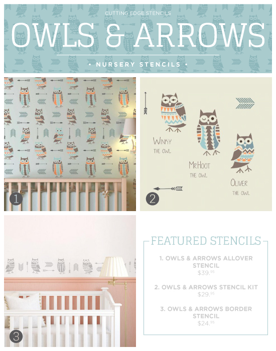 Cutting Edge Stencils shares new nursery wall stencil patterns including these Owl and Arrows themed designs. http://www.cuttingedgestencils.com/owls-arrows-allover-stencil-pattern.html