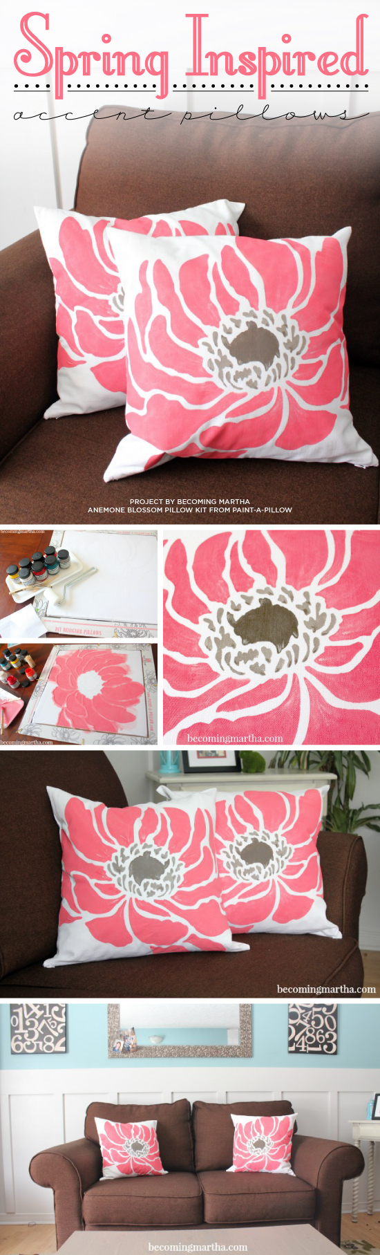Cutting Edge Stencils shares DIY spring inspired painted pillow using the Anemone Blossom stencil from Paint-A-Pillow. http://paintapillow.com/index.php/anemone-blossom-paint-a-pillow-kit.html