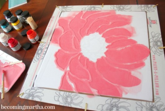 Learn how to stencil a DIY spring inspired painted pillow using the Anemone Blossom stencil. http://paintapillow.com/index.php/anemone-blossom-paint-a-pillow-kit.html