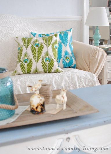 DIY stenciled accent pillows using the Peacock Feathers Paint-A-Pillow kit. http://paintapillow.com/index.php/peacock-feathers-paint-a-pillow-kit.html