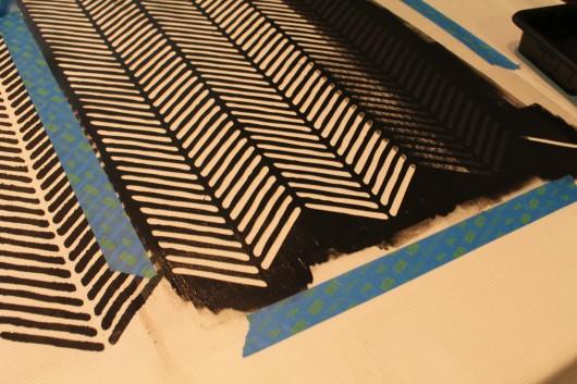 Stenciling a DIY shower curtain using the Herringbone Stitch Allover pattern. http://www.cuttingedgestencils.com/herringbone-stitch-allover-pattern-wall-stencil.html