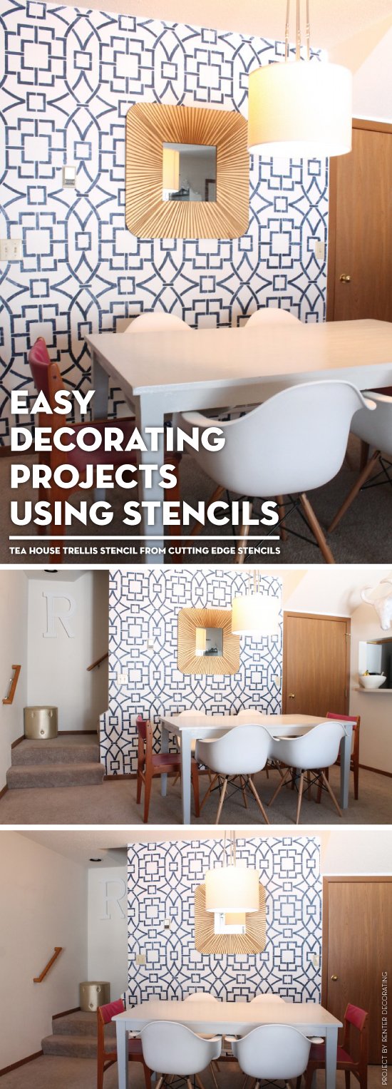 A DIY stenciled accent wall using the Tea House Trellis wall stencil. http://www.cuttingedgestencils.com/tea-house-trellis-allover-stencil-pattern.html