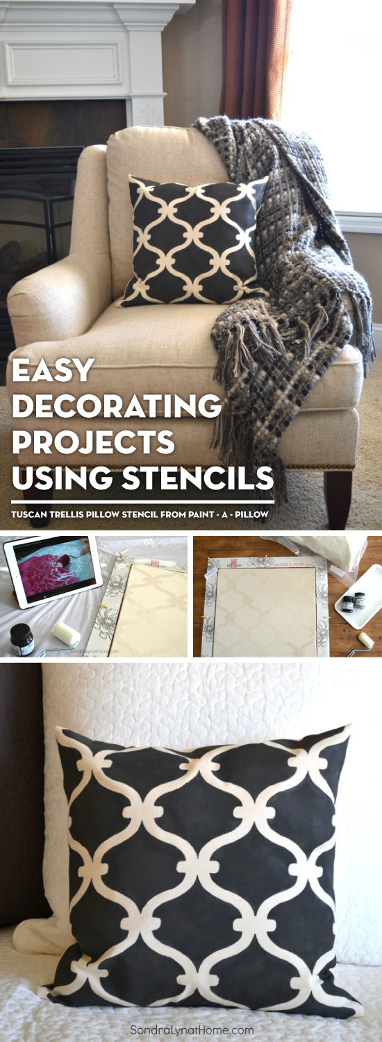 DIY stenciled accent pillows using the Tuscan Trellis stencil from the Paint-A-Pillow kit. http://paintapillow.com/index.php/tuscan-trellis-paint-a-pillow-kit.html