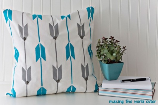 A DIY stenciled accent pillow using the Archery Paint-A-Pillow. http://paintapillow.com/index.php/archery-paint-a-pillow-kit.html