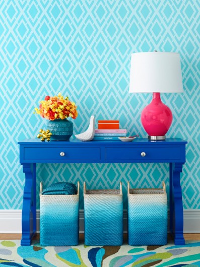 HGTV Magazine features the Alexa Allover from Cutting Edge Stencils on a stenciled accent wall. http://www.cuttingedgestencils.com/alexa-allover-wall-pattern.html