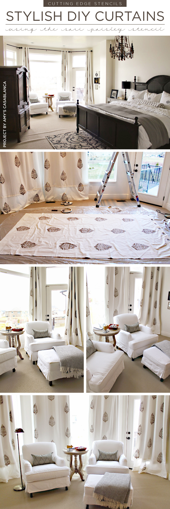 ... Cutting Edge Stencils Shares Diy Stenciled Curtains In A Master Bedroom  Using The Sari Paisley Stencil ...