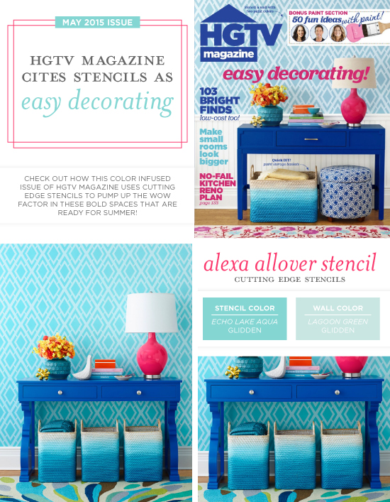 HGTV Magazine features the Alexa Allover from Cutting Edge Stencils on the May cover. http://www.cuttingedgestencils.com/alexa-allover-wall-pattern.html