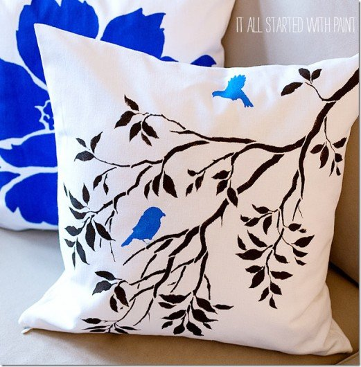 Nature Inspired Diy Accent Pillows Using The Birds On A Branch Paint