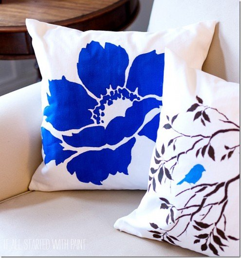 Nature-inspired DIY accent pillows using the Birds on a Branch Paint-A-Pillow kit and Anemone Grande kit. http://paintapillow.com/index.php/birds-on-a-branch-paint-a-pillow-kit.html