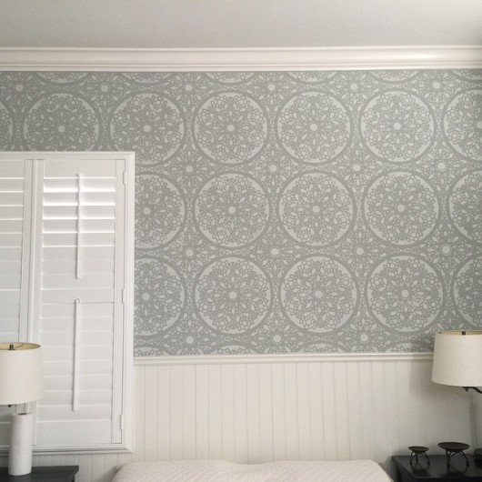 A DIY stenciled accent wall in a guest bedroom using the Chalotte Allover Stencil. http://www.cuttingedgestencils.com/charlotte-allover-stencil-pattern.html
