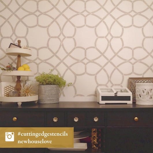 A DIY stenciled accent wall using the Coco Trellis Allover Stencil. http://www.cuttingedgestencils.com/coco-trellis-allover-pattern-stencil.html